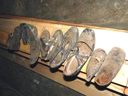 Shoes found in the wall