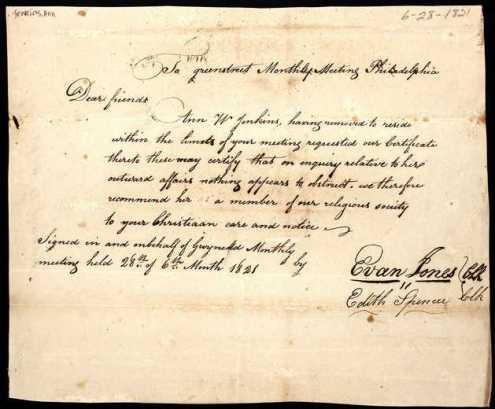 Cert from Gwynedd to GS PhilaMM 1821