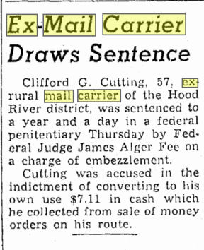 Clifford Cutting conviction - Oregonian 11-10-39
