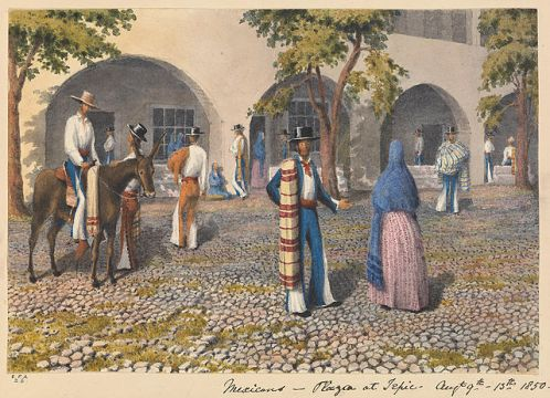 640px-Edward_Gennys_Fanshawe,_Mexicans,_Plaza_at_Tepic_(Mexico),_Augt_19th_-_13th_1850