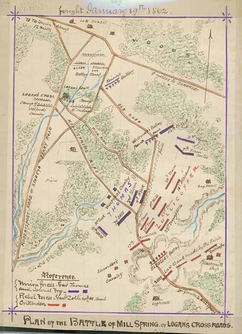 556px-Plan_of_the_battle_of_Mill_Spring_or_Logan's_Cross_Roads_-_fought_January_19th,_1862._LOC_gvhs01.vhs00016